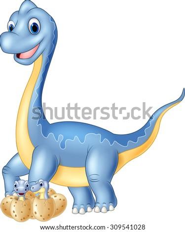Cartoon mom and  baby dinosaur hatching  - stock vector