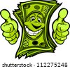 Cartoon Money and Hands with Thumbs up Vector Cartoon Image - stock vector