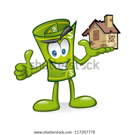 Cartoon money is being raised house damaged with one hand with a smile and a thumbs-up - stock vector