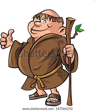 Cartoon monk holding a stick. Isolated on white
