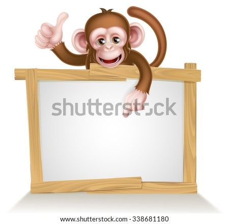 Cartoon monkey character peeking over a sign and pointing at it - stock vector