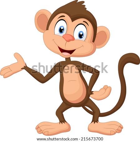 Cartoon monkey presenting - stock vector