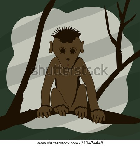 Cartoon monkey sitting on a tree branch and looking right.