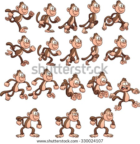 Cartoon monkey sprites. Vector clip art illustration with simple gradients. Each element on a separate layer.