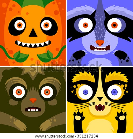 Cartoon monster animals faces vector set. Cute square avatars and icons. Idea for Halloween treat box. Print for t-shirt, elements for card design, poster. - stock vector