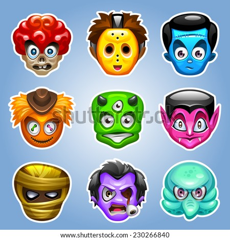 Cartoon monster characters. Easy to edit vector illustration eps 10. - stock vector