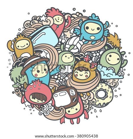 Cartoon Monster Doodles - stock vector