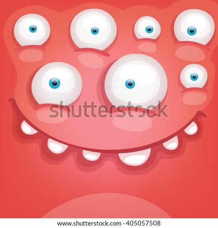 Cartoon Monster face - stock vector