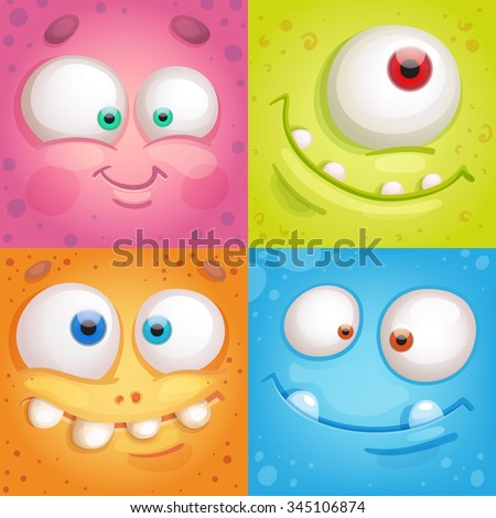 Cartoon monster faces - stock vector