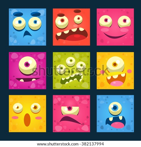Cartoon Monster Faces Colorful Vector Illustration Set.