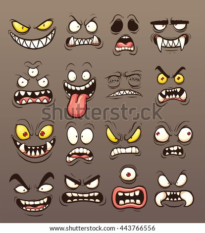 Cartoon monster faces. Vector clip art illustration with simple gradients. Each on a separate layer.