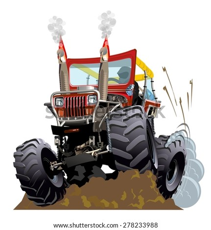 Cartoon Monster Truck. Available EPS-10 vector formats separated by groups and layers for easy edit