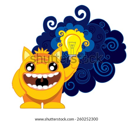Cartoon monster with a lamp in her hand.  - stock vector
