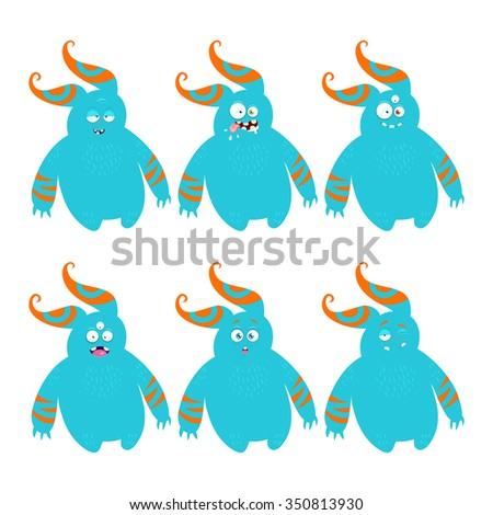 Cartoon monster with different emotions.  - stock vector