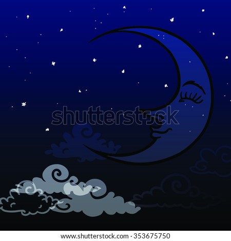 cartoon moon and clouds - stock vector
