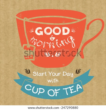Cartoon morning cup of tea. Hand drawn doodle cup silhouette, ribbon banner and hand written lettering Good Morning, isolated on brown kraft paper background. - stock vector