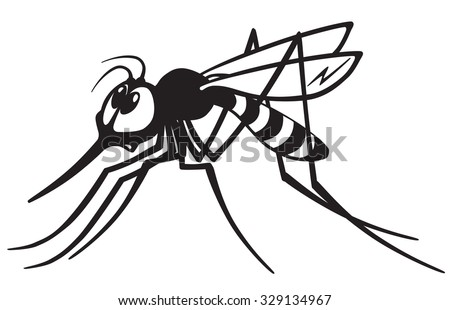 cartoon mosquito gnat .Black and white image