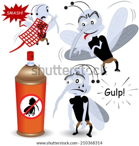 cartoon mosquito illustrations - stock vector