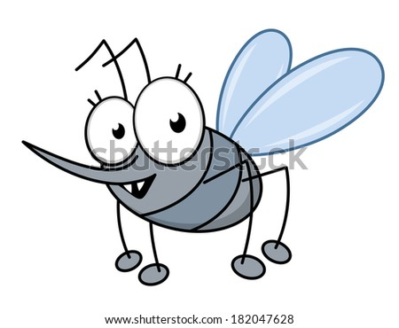 Cartoon mosquito with a long sharp proboscis to suck blood and sharp little teeth in shades of grey, isolated on white - stock vector
