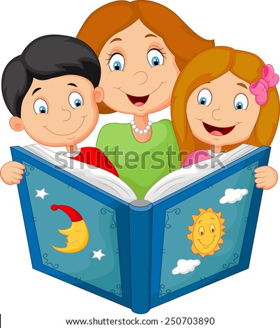 Cartoon mother reading with his children - stock vector