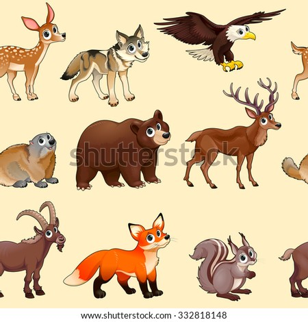 Cartoon mountain animals pattern. The sides repeat seamlessly for a possible packaging or graphic