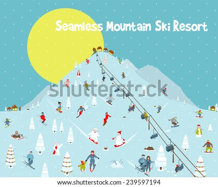 Cartoon Mountains Skyline Ski Resort Seamless Border Pattern. Mountain skiing background border with skiers and snowboarders. Vector illustration. - stock vector