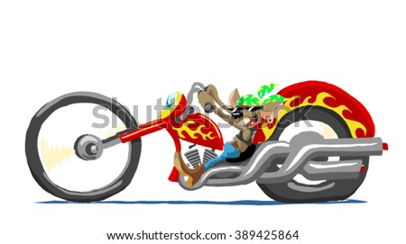 cartoon mouse in a motorcycle