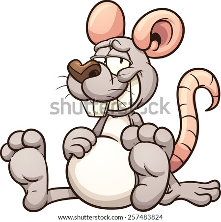Cartoon mouse with a full belly. Vector clip art illustration with simple gradients. All in a single layer.  - stock vector