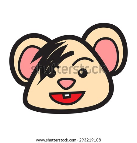 Cartoon mouse with happy expression