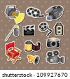 cartoon movie equipment icon set - stock vector