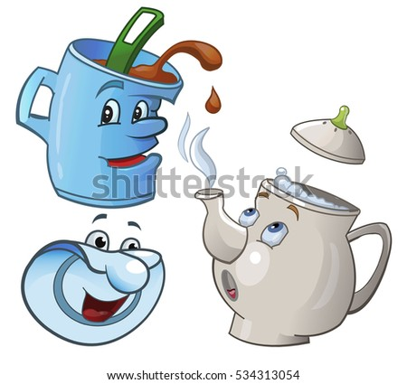 Cartoon Kettle Boiling Water Cup Stock Vector 319529360 ... Boiling Teapot Clipart