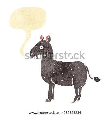 cartoon mule with speech bubble - stock vector