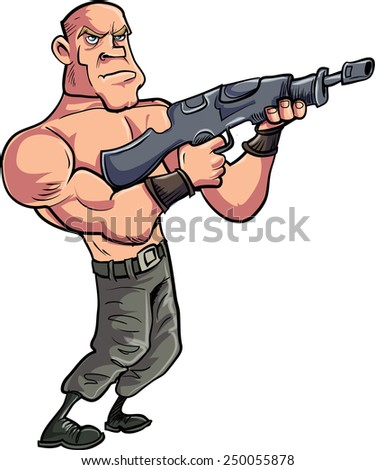 Cartoon muscled gunman with automatic rifle. Isolated on white - stock vector