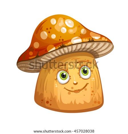 Cartoon mushrooms - stock vector