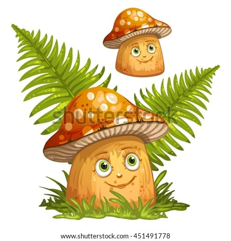 Cartoon mushrooms and ferns - stock vector