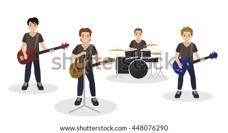 cartoon music band rock style , isolated on white background vector - stock vector