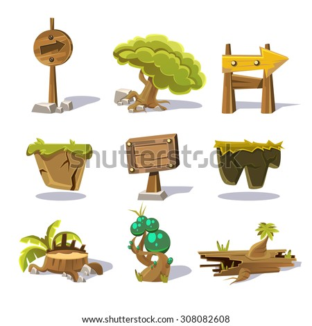 Cartoon nature elements, vector objects on white background vector - stock vector