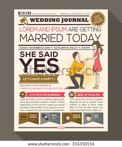 Cartoon newspaper journal wedding invitation vector stock vector cartoon newspaper journal wedding invitation vector design template with illustration of a man making propose with stopboris Images