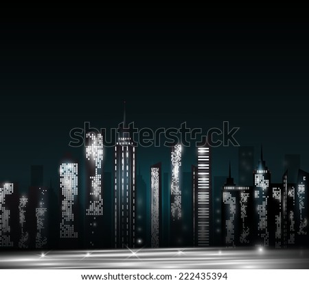 Cartoon night city skyline. Vector eps 10 - stock vector