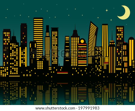 Cartoon night city. Vector eps 10