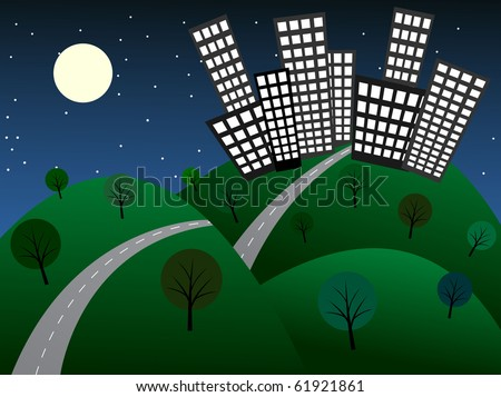 Cartoon night city. Vector illustration - stock vector