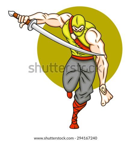 Cartoon Ninja Attack - stock vector