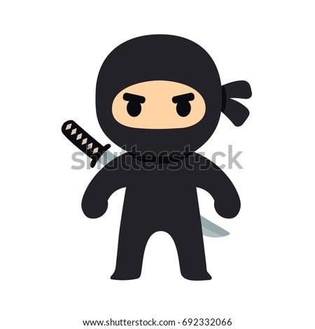 cartoon ninja drawing chibi manga style stock vector 692332066