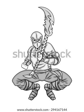 Cartoon Ninja Fighting with Spear - stock vector