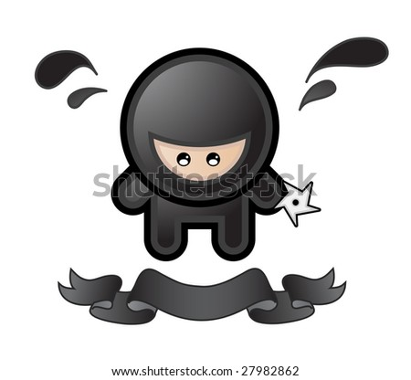 cartoon ninja on white background - stock vector