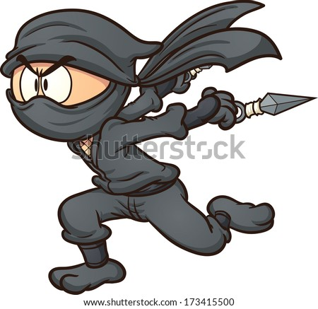 Cartoon ninja running. Vector clip art illustration with simple gradients. All in a single layer.  - stock vector