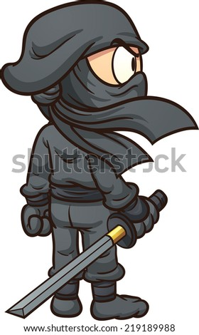 Cartoon ninja seen from behind. Vector clip art illustration with simple gradients. All in a single layer. - stock vector