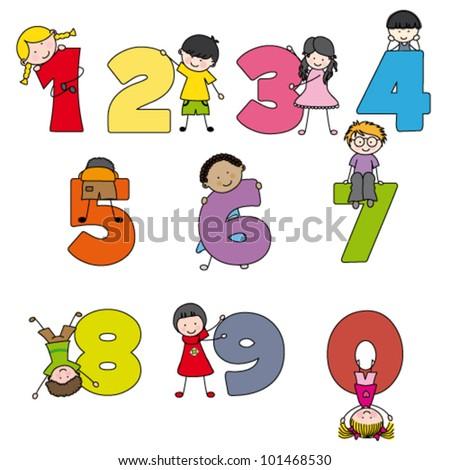 Cartoon numbers and children - stock vector