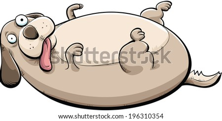 Cartoon of a big, fat dog lying on his back.