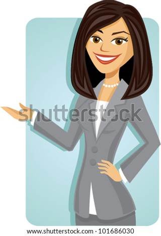 Cartoon of a business woman presenting - stock vector
